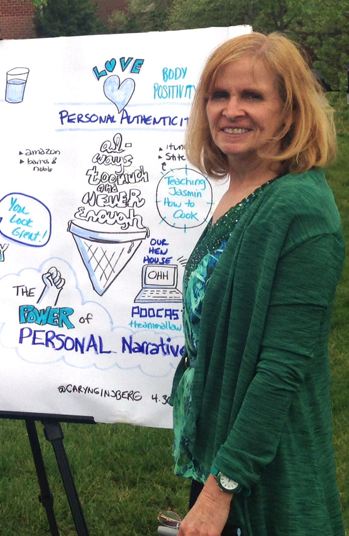 Caryn Ginsberg with completed graphic recording.